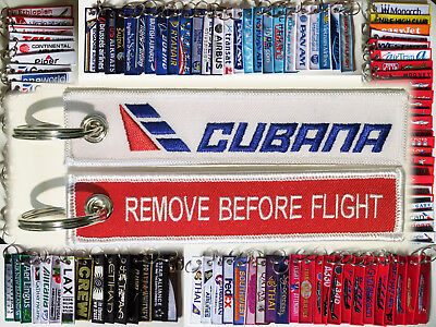 Keyring CUBANA de Aviación S.A. Airline Remove Before Flight keychain for pilot