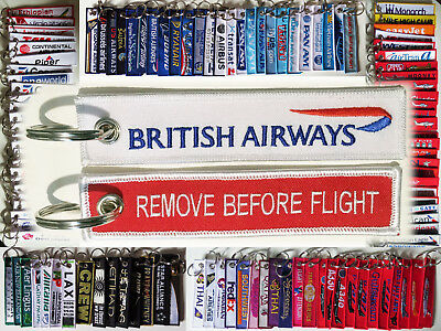 Keyring BRITISH AIRWAYS Remove Before Flight keychain for pilot WHITE TAG