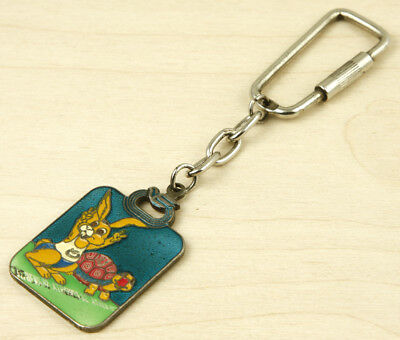 Greece 1982 PanEuropean Games Vintage Keychain Keyring The Rabbit and the Turtle