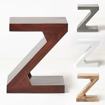 "Dakota ""Z"" Shaped Side / End Table Handcrafted 100% Solid Mango Wood"