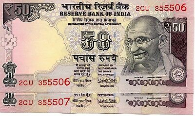 INDIA 50 Rupees 2017 P NEW Letter R x 2 Consecutive UNC Banknotes