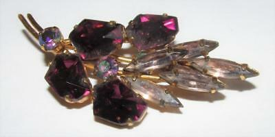 Lovely Vintage Brooch - Amethyst And Lilac Coloured Stones