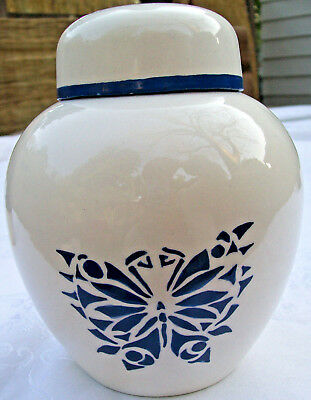 Vintage Holland Mold Ginger Jar with Lid White w/ Blue Butterfly Very Good Condi