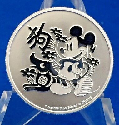 2018 Niue $2 Year Of The Dog Disney Mickey Mouse 1 Oz. .999 Silver w/Air Tight