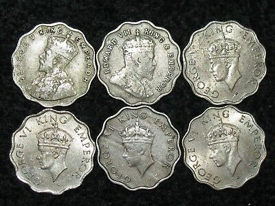 INDIA - BRITISH ~ 6 Coins ~ ALL 1 Anna ~ ASIA ~ World Collection ~ LOT 28