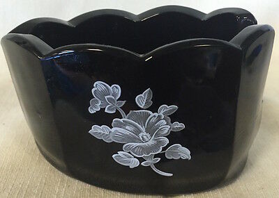 Spoonholder Old Mule Spoonrest - Mosser USA - Black Glass w/ White Floral