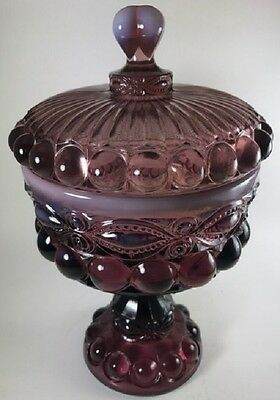 Covered Compote / Small - Eyewinker - Plum Opalescent Glass - Mosser USA