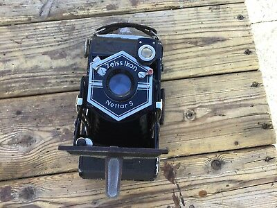 Vintage 1930s Zeiss Ikon Nettar S Folding Camera with Leather Case