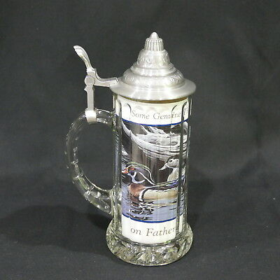 "Vintage Rastal Italy Glass Beer Stein 9½"" Pewter Lidded ~ Father's Day Insert"