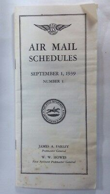Rare 1939 U.S.P.O. Air Mail Schedule And Routes James Farley Postmaster General