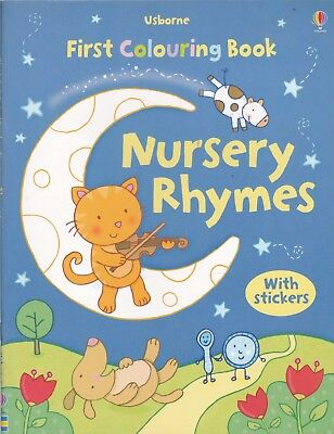Nursery Rhymes First Colouring Book By Usborne (Paperback) Includes Stickers