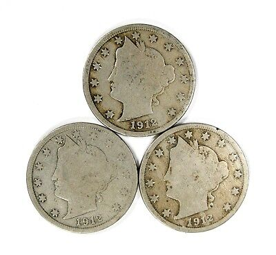 Lot of 3 1912 D 5c Liberty Head V Nickels VG Very Good Light Blemishes #120258 R