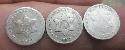 Three United States Three Cents Silver Coins 1852(2) & 1853 No Reserve