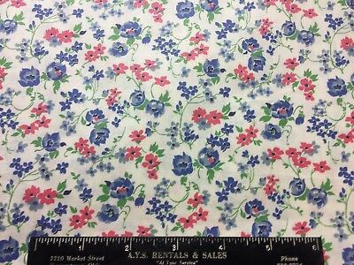 Vintage Cotton Fabric 30s40s SWEET Lil Blue & Pink Flowers 35w 1yd