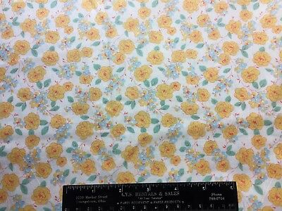 Vintage Cotton Fabric 30s40s SWEET Lil Blue & Yellow Flowers 35w 1yd