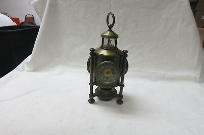 """Vintage HEAVY BRASS CLOCK WITH BAROMETER & THERMOMETER WIND UP WORKS 10"""""""