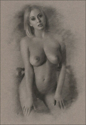 Female Nude ORIGINAL DRAWING Charcoal Art realism Naked Lady signed NO RESERVE