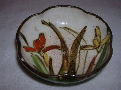 Japanese pottery hand painted bowl with shaped rim