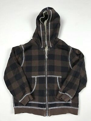 Hanna Andersson Boys Sherpa Lined Jacket Size 120 Plaid Hoodie