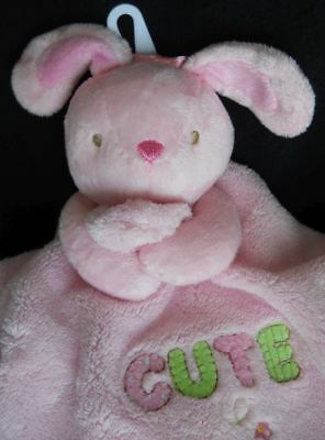 NEW SMALL WONDERS Pink BUNNY Baby Girl CUTE Security RATTLE Blanket SATIN NWOT