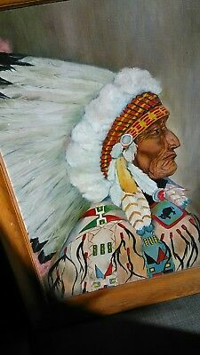"Vintage Native American Indian Cheif Oil Painting Signed Cleo Fleming 32"" X 26"""