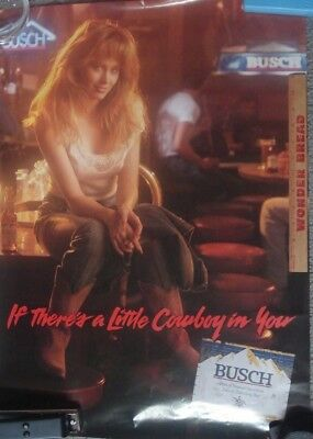 Vintage BUSCH Cowgirl Beer Poster from the 1980s