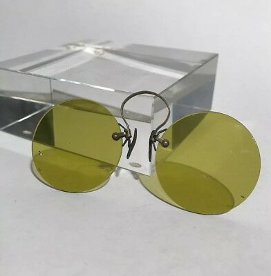 RARE 1900 Antique yellowNez-Pince Eyeglasses, Sunglasses Case, Costume Halloween