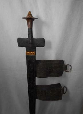 Antique North Africa TOP HIGH AGED USED TUAREG TRIBE SWORD WITH LEATHER SCABBARD