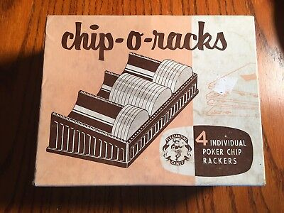Vintage Bakelite CHIP-O-RACKS Poker Trays Set of 4 in Box Pacific No. 2075