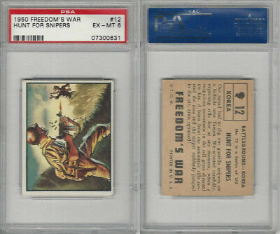 1950 Topps, Freedoms War, #12 Hunt For Snipers, Korea, PSA 6 EXMT
