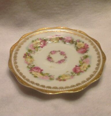 Herman Ohme Prussia China Plate with Pink and Yellow Flowers, gold trimmed