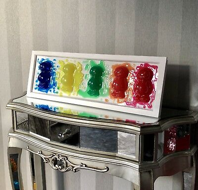 Melting Jelly Babies Framed 3D Liquid Art