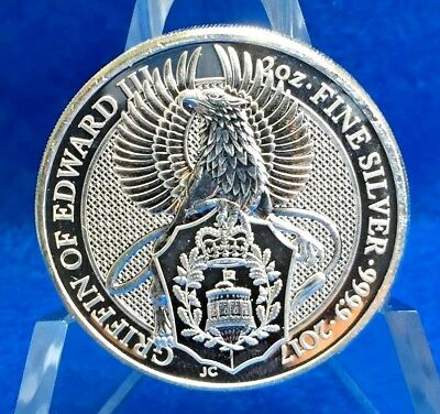 2017 Great Britain Queens Beast Griffin .999 Silver 2 Troy Oz. Coin