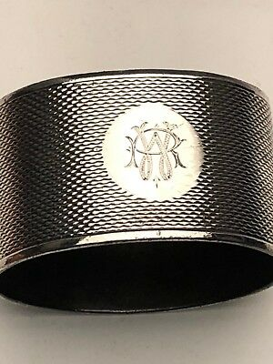 """Antique Oval Napkin Ring, English Hallmarks, Sterling Silver, 1.25"""", Engraved"""