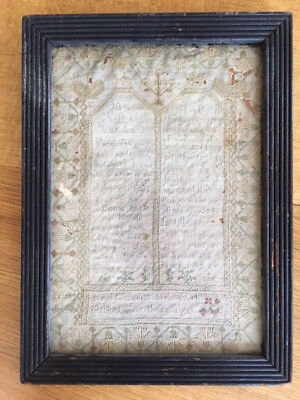 Georgian embroidery sampler dated 1769 by Amelia Harris. A remarkable antique.