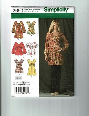Simplicity #2690 Pullover Mini Dress or Tunic Pattern Sz 6-14 UC