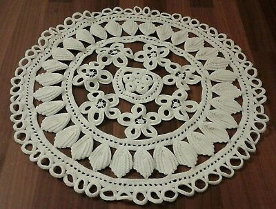 Large Vintage Doily / Small Tablecloth Ivory Hand Crocheted Cotton
