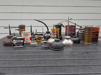 vintage oil cans lot - 20 cans