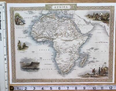 Antique Historical vintage colour map 1800s: Africa by John Tallis Reprint