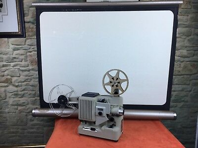 Eumig P8 Automatic Film Projector. Screen Box. 8mm film