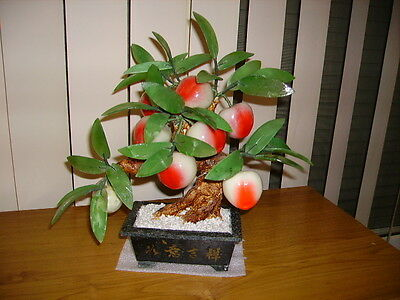 Vintage Carved Jade & Peking Glass Peach Bonsai Tree c1960's-1970's