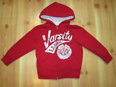 Arizona Boys Red Hooded Zip Up Long Sleeve Varsity League Sweatshirt Size Medium