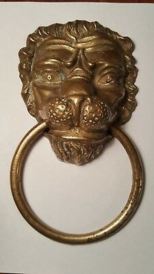 "Vintage Heavy Brass Lion Head Door Knocker 9""x5"""