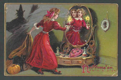 1908 PPC Halloween Witch In Mirror Becomes Pretty Girl Embossed A Tuck Card