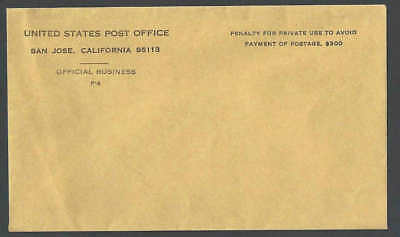 Ca 1970 U S Post Office Mint Entire Small Envelope From San Jose Ca See Info