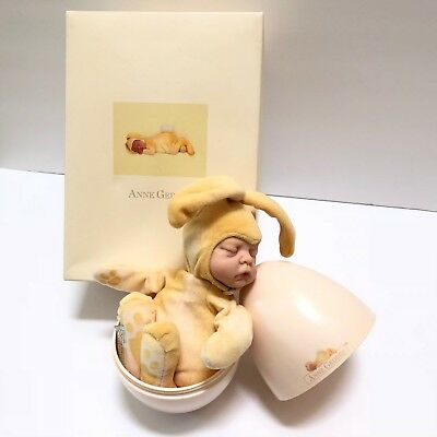 Anne Geddes Egg Bunny Doll Yellow Easter Bunny Baby Doll Original Box 2001 Rare
