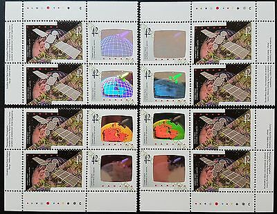 Canada in Space 4 Different Corners Blocks of 4 year of 1992