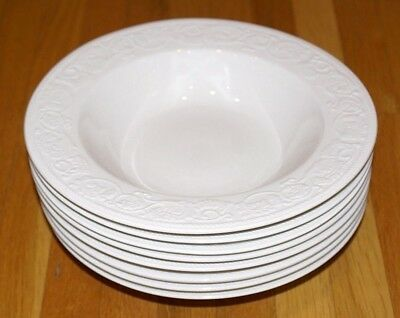 """Set of 8 Farberware Alsace #4242 White Embossed Scroll Rim Soup Bowls - 8 7/8"""""""