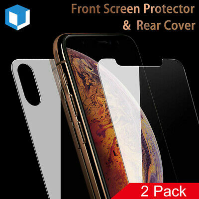 Front Tempered Glass Screen Protector+Back Full Coverage for iPhone Xs Xs Max XR
