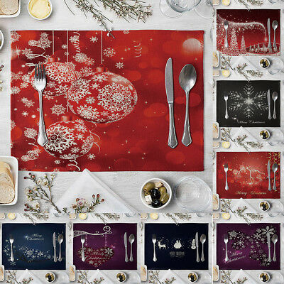 Christmas Dining Table Linen Heat Insulation Mat Placemat Kitchen Home Decor tal